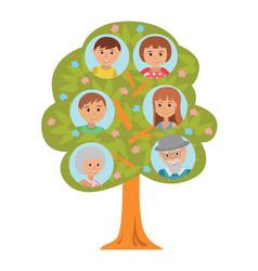 Cartoon generation family tree in flat style vector