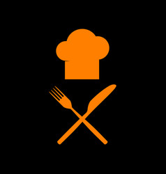 chef with knife and fork sign orange icon on vector image
