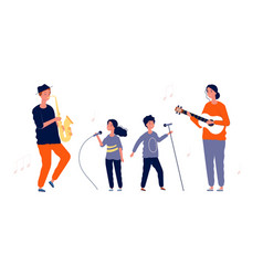 children singers music and vocal lessons for vector image