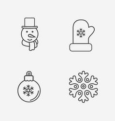 Christmas icons thin line style on white vector
