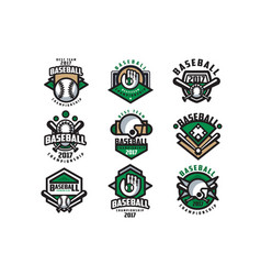 Collection of colorful baseball logos labels with vector