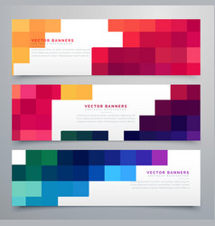 Colorful mosaic headers set cards vector