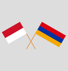 Crossed armenian and indonesian flags vector