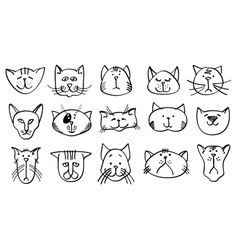 Cute cat heads in hand drawn style vector