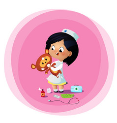cute little girl plays doctor with toy bear vector image