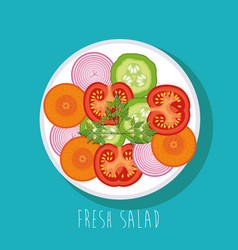 Dish with fresh salad healthy food vector