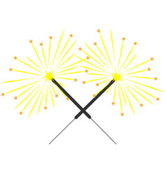 double color sparkler on white background sign 3 vector image