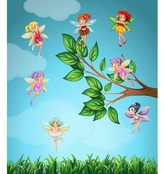 Fairies flying in the sky vector