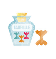 Farfalle dry pasta in a transparent glass vector