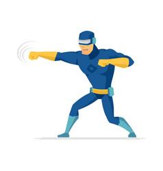 fighting superhero - modern cartoon people vector image