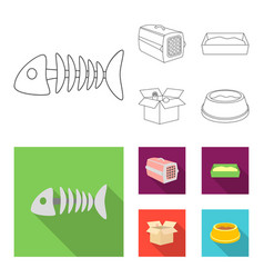 fish bone container for an animal cat toilet vector image