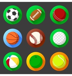 Flat and round sport icons vector