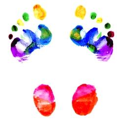 Footprints of feet painted in various colors vector