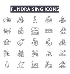 Fundraising line icons for web and mobile design vector