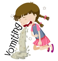 Girl vomiting and feeling sick vector