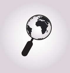 globe with magnifying glass icon planet earth vector image