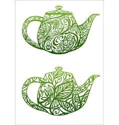 green tea concept kettle with floral ornament vector image
