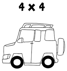 Hand draw of jeep transportation vector