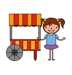 Happy girl with food booth carnival vector