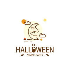 happy halloween design with typography and white vector image