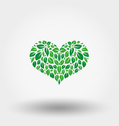 heart green leaves icon flat vector image