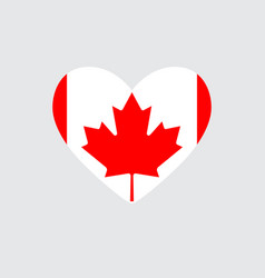 Heart in colors and symbols of the canadian flag vector