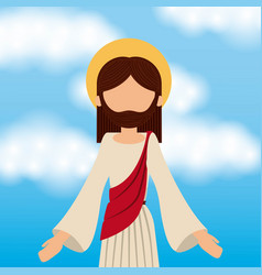 jesus christ ascension sky background vector image