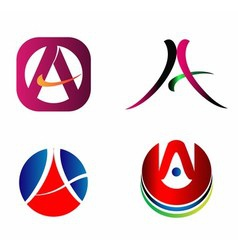 Letter A logo Icons Set Graphic Design vector image