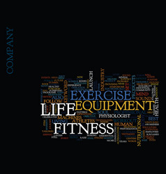 Life fitness exercise equipment text background vector