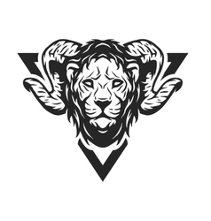 Lion head with antlers vector