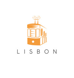 Lisbon portugal tram landmark design template vector