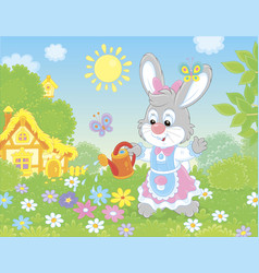 Little bunny watering colorful flowers vector