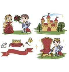 little king castle cartoon clipart color vector image