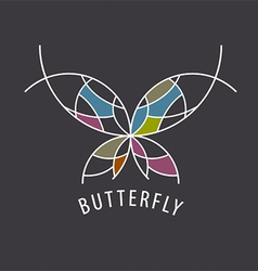 Logo schematic butterfly with color inserts vector