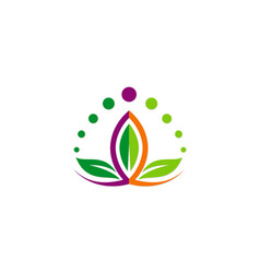 Lotus flower beauty colorful logo vector