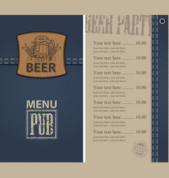 menu for beer pub on denim background with price vector image