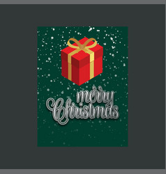 merry christmas gift box green background vector image