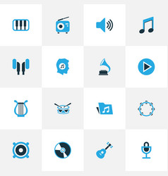 Music colorful icons set collection of microphone vector