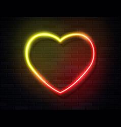 neon iridescent glowing heart banner on dark empty vector image