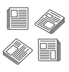 newspaper icons set vector image