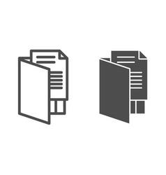 Open folder line and glyph icon file folder vector