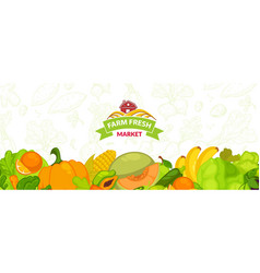 organic market with natural products and food vector image