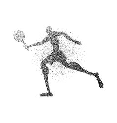 Particle dust tennis player silhouette with racket vector