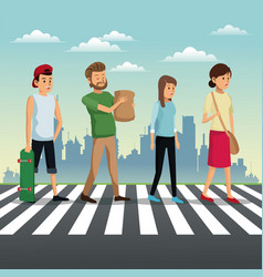 People crossing street urban background vector
