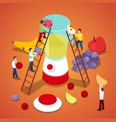 People making fresh juice healthy eating vector