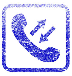 Phone talking framed textured icon vector