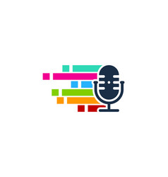 Pixel art podcast logo icon design vector
