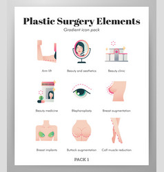 Plastic surgery elements gradient pack vector