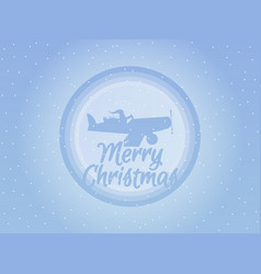 santa claus is flying in an airplane with gifts vector image