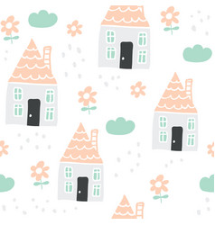 scandi seamless pattern with houseflowers clouds vector image